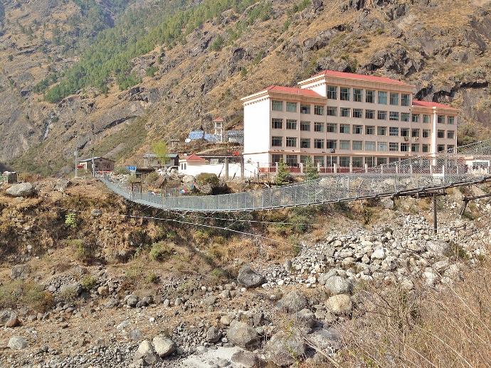 Footbridge at Rasuwa Garhi in 2013. This gives a closer view of the impressive new buildings on the Chinese side.