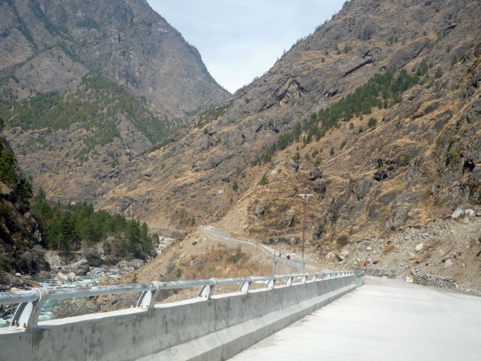 A section of the impressive new road from Syabrubesi, 500 meters from Rasuwa Garhi. There are nine concrete bridges on the 20km road capable of bearing the heaviest loads. The road was constructed entirely by Chinese labor with Chinese equipment.