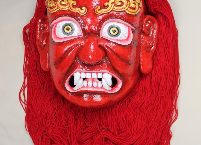 <p>Red Demoness Mask or <em>Marpo Srinmo</em> <br /> McLeod Ganj, Dharamshala, India <br />  2011 <br /> Courtesy of National Museums Liverpool, LIV.2012.40.15</p>  <p>Since 2011, NML has been working with the Tibetan Institute of Performing Arts (TIPA) based in Dharamshala, Himachal Pradesh to create a material and visual archive of <em>ache lhamo</em> (Tib. a lce lha mo) for the museum's permanent collection. While the intangible heritage of <em>ache lhamo</em> - a Tibetan opera - has received growing attention, the material culture of <em>ache lhamo</em> is underrepresented in UK museum collections. Before the 1950s, <em>ache lhamo</em> was performed by peripatetic actors who moved from town to village criss-crossing Tibet, Sikkim and the wider Himalayan region. Since the 1980s <em>ache lhamo</em> has been remade and has become a visible marker of Tibetanness in exile. </p>