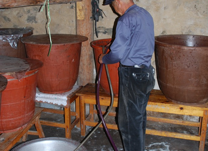 <b><p>Pumping the fermented wine from the barrel containing sediments of grape seeds and skin.</b></p>