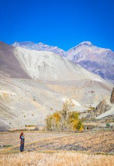 Fields. (Kory Thibeault, October 2016)  Agricultural production over the past few decades has decreased due to climate change and the outmigration of many residents in Lower Mustang. Youth are leaving for educational and employment opportunities abroad, and there is a shortage of labor within villages. This photo was taken right after the harvesting season concluded, as community members pray for a productive harvest next season.