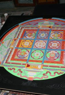 The main mendrup mandala is prepared from different types of colored sand on a wooden board. Its cardinal points with the distinctive colors are clearly visible. The mandala represents the palace of the tutelary deity Trowo Tsochok Khagying and his retinue. The nine squares stand for the distinct quarters of the divine palace and the divinities that occupy them.