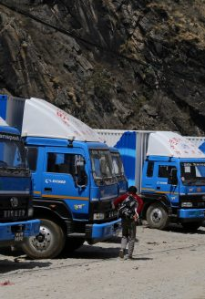 A new player - Silk Transport trucks parked at Ghattekhole, Rasuwa. During our second visit to the region, we saw a new transportation company named Silk Transport, which had brought in 38 trucks under their banner. The entry of Silk Transport has changed the transportation business by offering transportation cost to Kathmandu at least by 20% less than the existing rates from Kerung. In speaking with residents of Timure, we were informed that Silk Transport has planned to increase their truck number to 200 within the next year as a part of its expansion, which is likely to dominate the transportation business along this corridor.